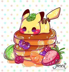 Pikachu likes Ihop Pokémon Kawaii, Kawaii Anime, Pet Anime, Arte Do Kawaii, Anime Animals, Cute Food Drawings, Cute Animal Drawings Kawaii, Cute Kawaii Animals, Cute Disney Drawings