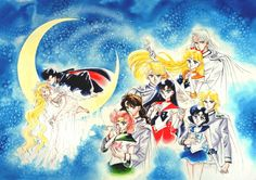 """girlsbydaylight:  """"This is the title page for the conclusion of the first series of Sailor Moon. It had a great deal of impact on the first series. Probably because the four couplings on the right side were very unexpected. I was thinking of love stories of the previous lives of these couples. I'd like to be able to draw that someday…"""" - Takeuchi Naoko, via Manga Style!, translated by Kurozuki"""