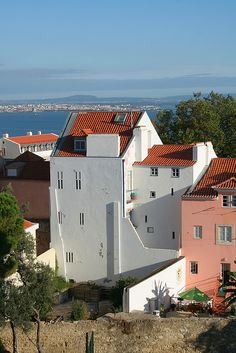 Hillside houses in Lisbon, Portugal