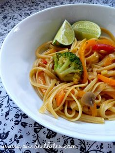 Curry noodles -- used pad thai noodles, added shrimp, at least 2 Tbs more sweet chili sauce and at least 2 Tbs peanut butter.  Serve with limes, chopped peanuts, cilantro