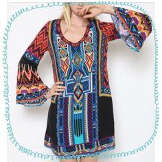 "🌺HP 3/17🌺MULTI PRINT BELL SLEEVE TUNIC Beautiful jewel tones in this bell sleeve tunic dress. 100% rayon. 34"" long. tla2 Tops Tunics"