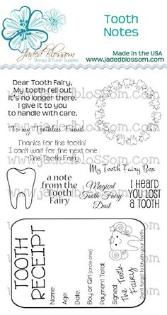 Cute - Inspiration for letter to the Tooth Fairy and  receipt to be tucked under pillow or in Tooth Fairy bag on bedpost