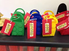 Goodies bags with lego font names