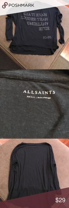 All Saints Long sleeve tshirt All Saints Make it all louder then anything else Long sleeve tshirt in good condition  no stains, rips or tears All Saints Tops Tees - Long Sleeve