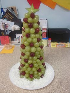 Would go good with the shrimp tree :) Christmas Tree Snack and More!  Are you looking for a fun, but healthy snack for your holiday parties?  Try this one!!!  You will need a Styrofoam cone, red and green grapes, a star fruit and toothpicks.