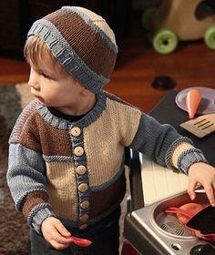 Color Block Cardigan & Hat Knit Pattern