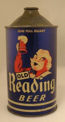 Rich dark glossy blue full quart size Old Reading Beer cone top can. The can shows Gus holding a stein.