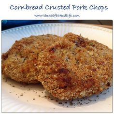 Cornbread crusted pork chops - Serving size: 1 pork cutlet Calories: 374 Fat: 16.4 Saturated fat: 4.3 Carbohydrates: 25 Sodium: 811 Fiber: .7 Protein: 28 Cholesterol: 78