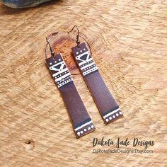 Leather Bar Earrings. Tribal Earrings. Boho Earrings. Bohemian Earrings. Painted Leather Earrings. Geometric Earrings. Brown Leather Jewelry