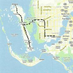 Florida Backroads Travel map of route from Cape Coral to Pine Island including St. James City and Bokeelia.