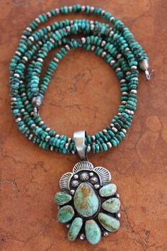 Turquoise Pendant on Turquoise Bead Necklace