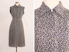 Vintage Black & White Sleeveless Printed Dress