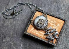 Assemblage Necklace Camphor Glass button brass by OldNouveau
