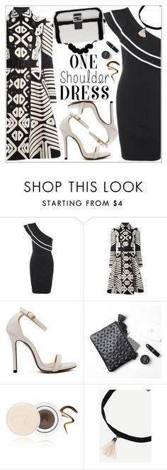 """Party Style: One-Shoulder Dress"" by teoecar ❤ liked on Polyvore featuring Burberry, Jane Iredale and rosegal"