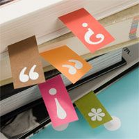Page markers. Set includes 50 in five different punctuation mark designs. $10.00