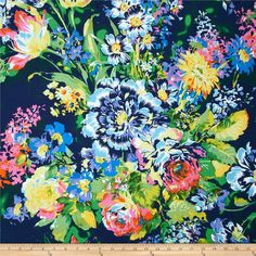 Matisse Crepe Floral Navy/Lime/Pink from @fabricdotcom  This crepe fabric has a luxurious soft hand, fabulous fluid drape and a bright floral print. This fabric is perfect for blouses, shirts, dresses and skirts with a lining. Colors include coral, light blue, green, yellow and navy.