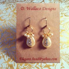 dwallacedesigns • vintage drop pearl and crystal earrings.