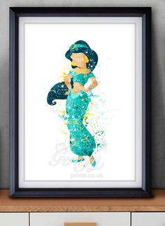 Disney Princess Jasmine Aladdin Watercolor Poster Print - Wall Decor - Watercolor Painting - Watercolor Art - Kids Decor- Nursery Decor