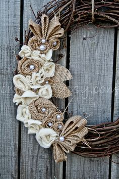 Elegant Rustic Wedding ♥ Rustic Burlap, Ivory and Jute Wreath ♥ Wedding & Reception Decor ♥ $58.00 via Etsy