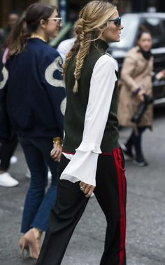 Olivia Palermo, tracksuit pants and braids. Sign up to irislillian.com to receive a free style guide xx