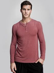 The Neighborhood Henley in cardinal. We were inspired by the lights and buzz of city life for our upscale henley tops. With its body-skimming fluidity, extreme softness and performance-enhancing benefits, our newest Viloft® shirt is designed to make your life better amidst the hustle of metropolitan living. Shop this and other styles at www.coryvines.com
