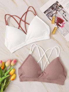 To find out about the Rib Criss Cross Back Bra Set at SHEIN, part of our latest Bras & Bralettes ready to shop online today! Lace Bandeau Bra, Lace Bralette, Bra Lingerie, Women Lingerie, Ropa Interior Calvin, Teen Bras, Fashion News, Fashion Outfits, Fashion Bra