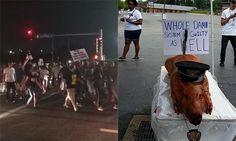 Man SHOT as Ferguson protesters mark Brown anniversary; stage 'SICK' pig roast