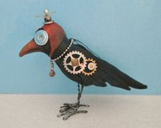 """SE496E  Crow Ornament PDF Cloth Bird Sewing Pattern - Muslin, paperclay, fun foam and bits of hardware are fashioned together to make this 4"""" x 6"""" ornament designed by SUSAN BARMORE."""