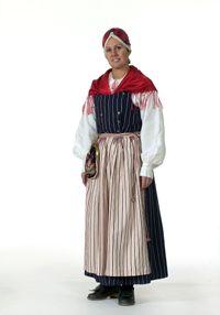 Kvinna i dräkt från Bollnäs, Hälsingland.
