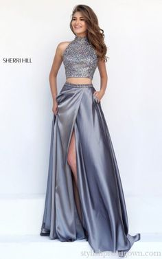 Silver Sherri Hill 11330 Two Piece Prom Gown With Slit