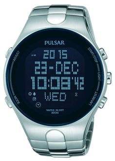 Pulsar PQ2053 Digital Mens Watch World Time Multiple Alarms Stainless Steel