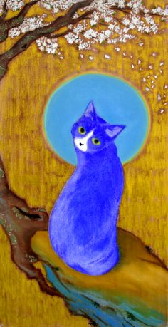 http://UpCycle.Club Black is too bright for us #OnlyeBlue presents this amazing 'Blue Cat' painting as was saved on pinterest by Muwee Kirana. On a #vidart quam videri note Blue the playful Cat from our community at @upcycleclub London will steal your heart #ArtSerendipity