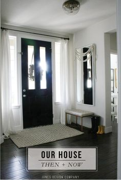 So hard to find examples of what I want particularly when I know exactly what that is for once!! The glass would need to be patterned or frosted for privacy but I need light in the passage and a black door would suit the front.