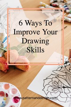 Learn a few simple and easy tricks that you can use to improve your drawing skills that will help you when you're creating your pattern repeats for your textile design or surface pattern design business. You can practice your drawing skills step by step in your sketchbook with these 6 tricks. Pattern Design Drawing, Surface Pattern Design, Kids Patterns, Floral Patterns, Textile Design, Fabric Design, Blind Contour Drawing, Easy Tricks, Creative Class