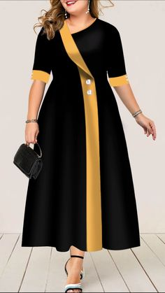 Plus Size Dress Button Detail Dress High Waist Dress Half Sleeve Dress Black Dress Elegant Maxi Dress Plus Size Button Detail High Waist Dress