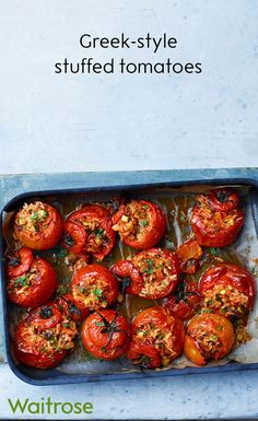 Greek-style tomatoes stuffed with flavoursome whole grain rice and sprinkled with mint leaves. Serve with a crisp green salad on the side. Vegetarian Buffet, Vegetarian Recipes, Cooking Recipes, Healthy Recipes, Vegetarian Wedding Food, Vegetarian Xmas, Vegetarian Starters, Cooking Videos, Food Videos