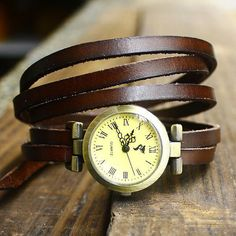 Watch.Women wrap around watch.Vintage style wrap watch.Brown leather watch.Gift ideas watch.Watches for women.Bracelet leather watch.
