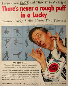 celebrities from 1950s | Original vintage magazine ad for Lucky Strike Cigarettes featuring ...