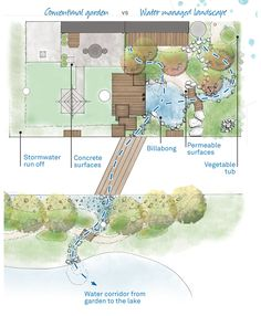 water conserving garden plan with natural pool