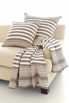 Rugby Stripe Charcoal Throw | Dash & Albert Rug Company