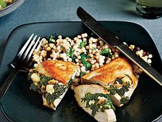 Chicken Stuffed with Spinach, Feta, and Pine Nuts | When you need a chicken dish that's impressive enough for company but easy to prepare, turn to these recipes featuring chicken breasts brimming with flavor from the inside out.