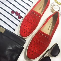 Red Suede Cutout Slip On Sneakers Details: • Size 9 • Suede  • Slip on style • Brand new in box   02161617 Via Spiga Shoes Sneakers