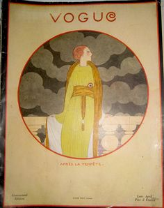 Vogue Cover from April 1919. Illustration by Lepape. Love the typography for the title.