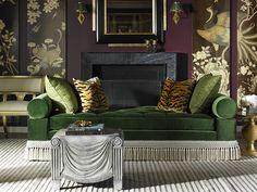 Alexa Hampton Kennedy Divan by Hickory Chair with Alexa Hampton resin table by Maitland-Smith