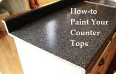 How to Paint Your Countertops. Fabulous idea if you can't afford new countertops. I will be doing this when I finish (start) our master bed & bath. Diy Projects To Try, Home Projects, Crafty Projects, Kitchen Redo, Kitchen Ideas, Kitchen Stuff, Kitchen Inspiration, Kitchen Remodel, Laminate Countertops