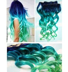 Blue Lagoon, Blue Green Ombre Dip Dyed Human Hair Extensions, Full Set Clip In Extensions, Hippie, Festival, Tye Dye Hair, Hair Weft! CRAZY