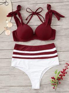 Shop Underwire Top With High Waist Bikini Set online. SHEIN offers Underwire Top With High Waist Bikini Set & more to fit your fashionable needs. Floral Bikini Set, Bandeau Bikini Set, Bikini Girls, Pink Bikini, Cute Swimsuits, Two Piece Swimsuits, Vintage Swimsuits, Color Block Bikini, Beach Wear