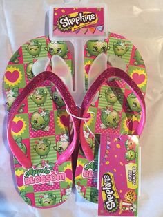 Shopkins Girls Flip Flops Sandals Size M 13 1 Apple Blossom Spring Summer Beach | eBay