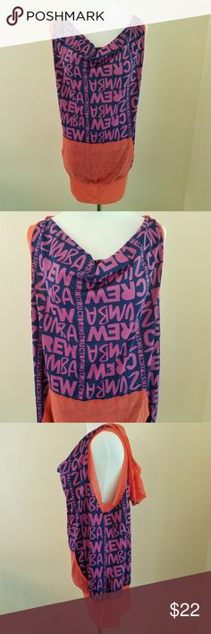 Zumba Hooded Mesh Tank Scoop Neck Zumba mesh tank with hood and scoop neck.  Colors are navy, purple and orange. It's in great condition.  Material is 69% polyester, 24% polyamide and 7% elastane Zumba Fitness Tops Tank Tops