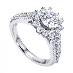 Unique halo engagement ring at Wedding Day Diamonds